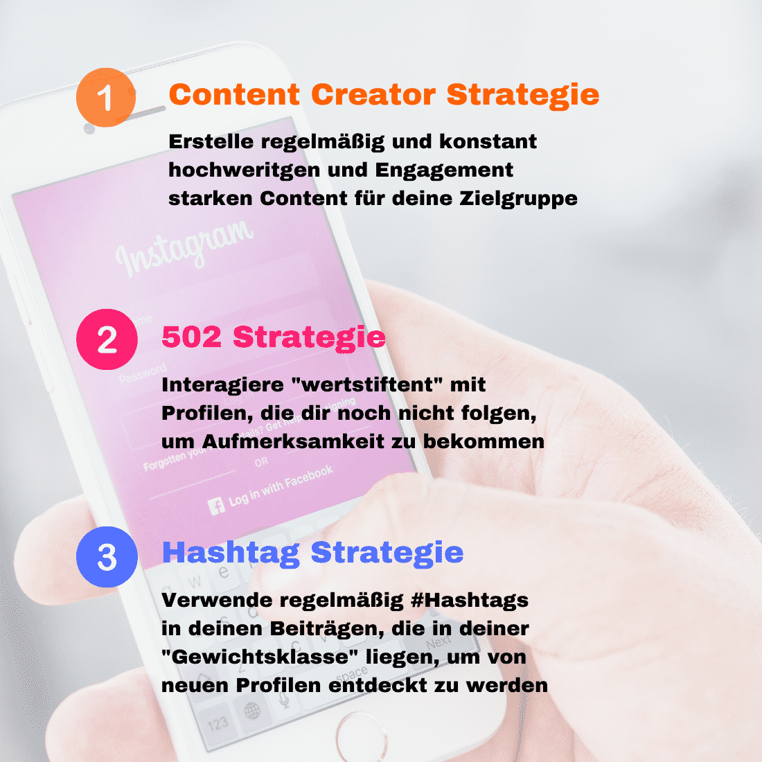 3 Strategien mehr Instagram Follower - Grafik