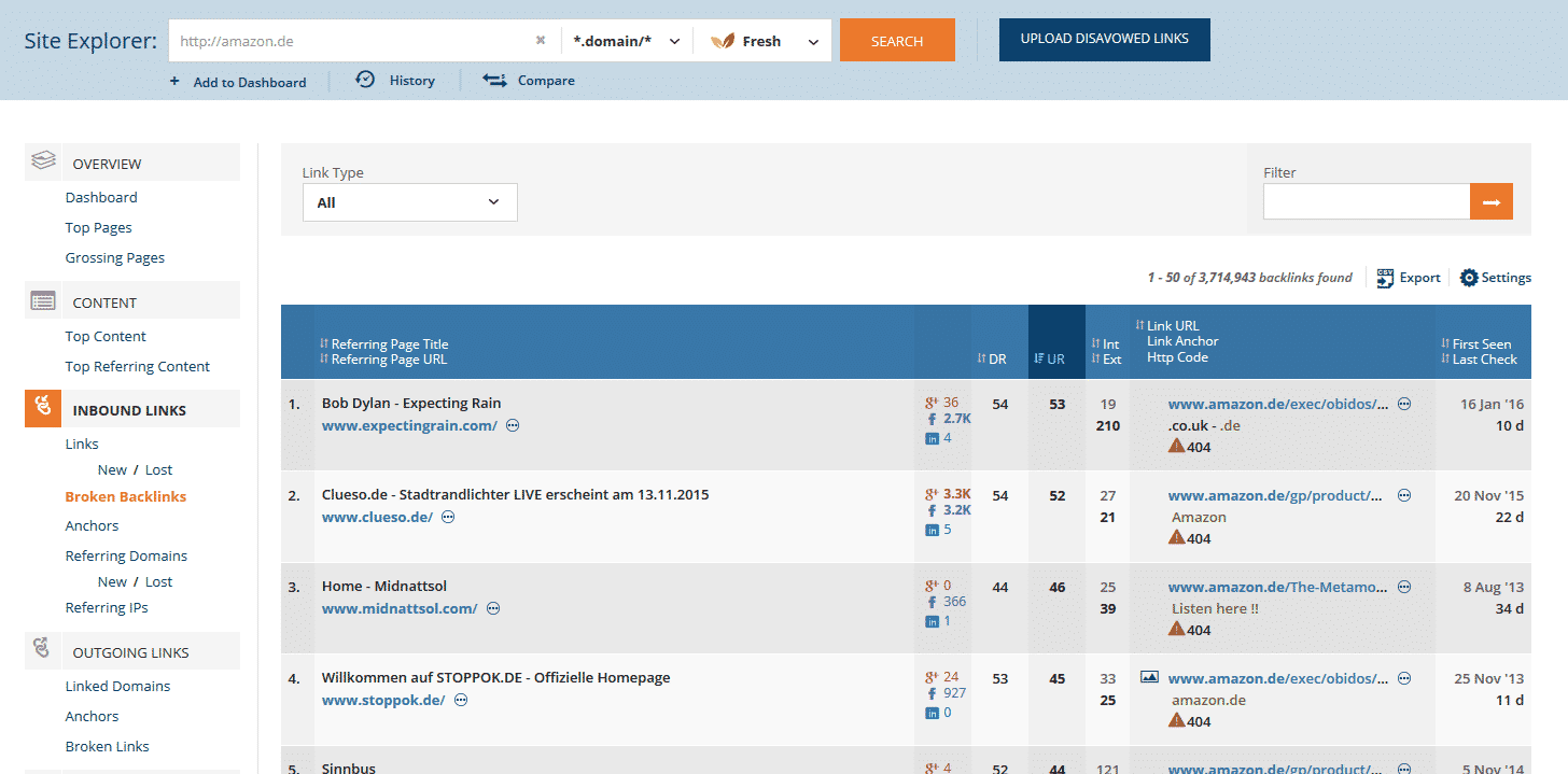 Tabelle mit Broken Backlinks bei ahrefs