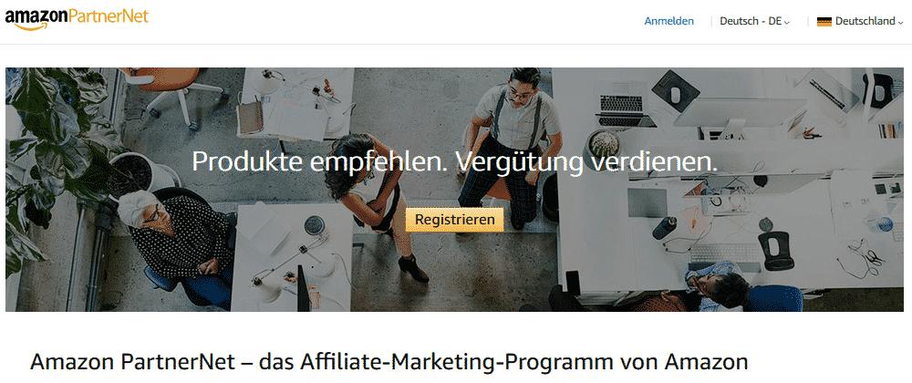 Amazon Partnerprgramm Registrieren Startseite