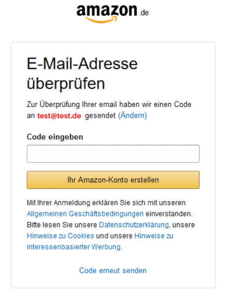 Amazon Partnerprogramm Registrieren Code EMail 1