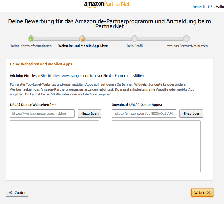 Amazon Partnerprogramm Konto 06 Registrieren URL