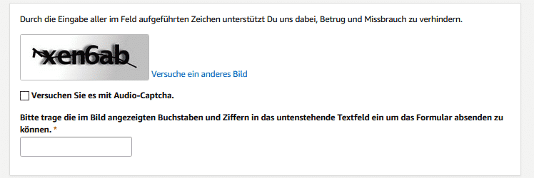 Amazon Partnerprogramm Konto 09 Registrieren Captcha