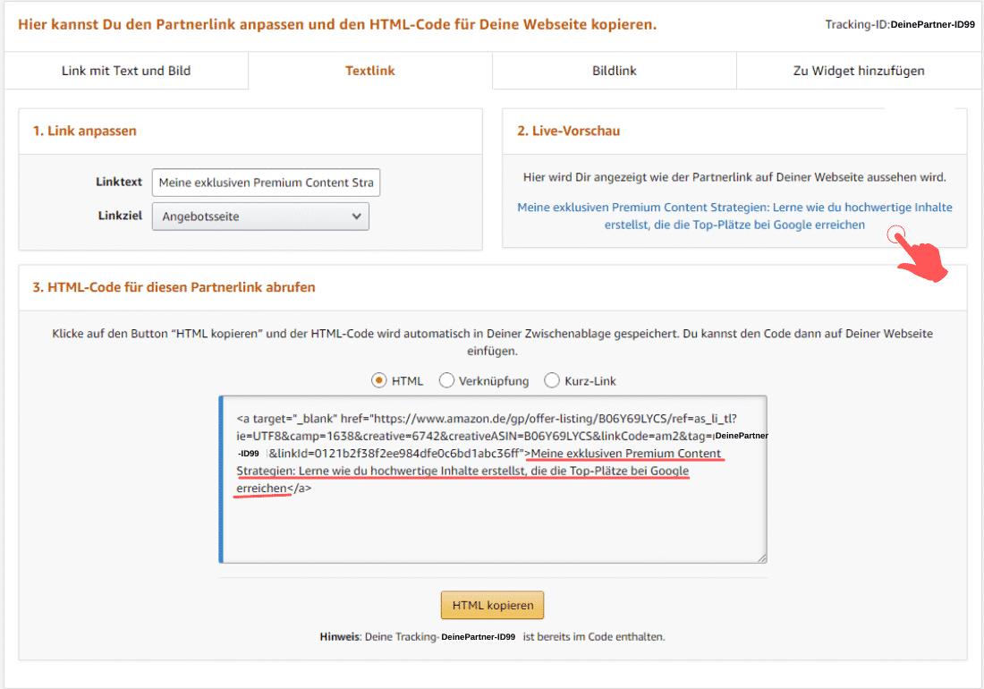 Amazon Partnerprogramm - Affiliate Link kürzen - Text-Link Ankertext ändern