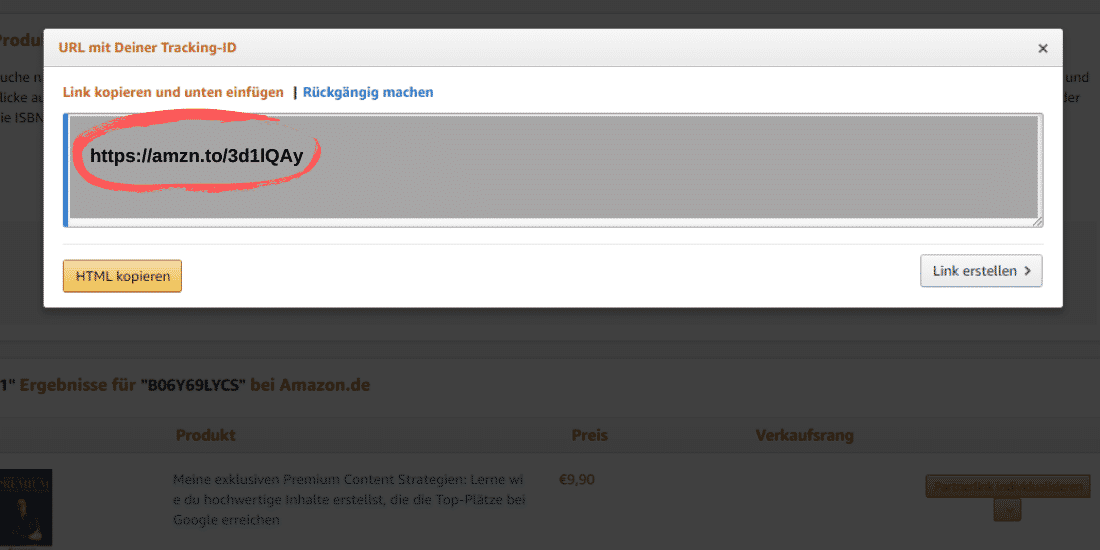 Amazon Partnerprogramm - Affiliate Link kürzen - Textlink gekürzt