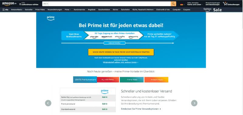 Amazon Partnerprogramm - Amazon Prime Premiumversand