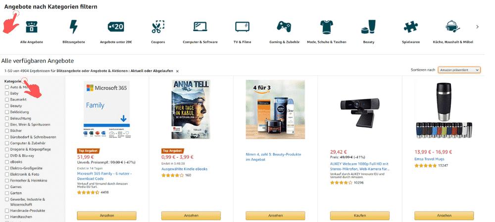 Amazon Partnerprogramm - Angebote Kategorien
