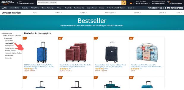 Amazon Partnerprogramm - Bestseller finden Kategorie