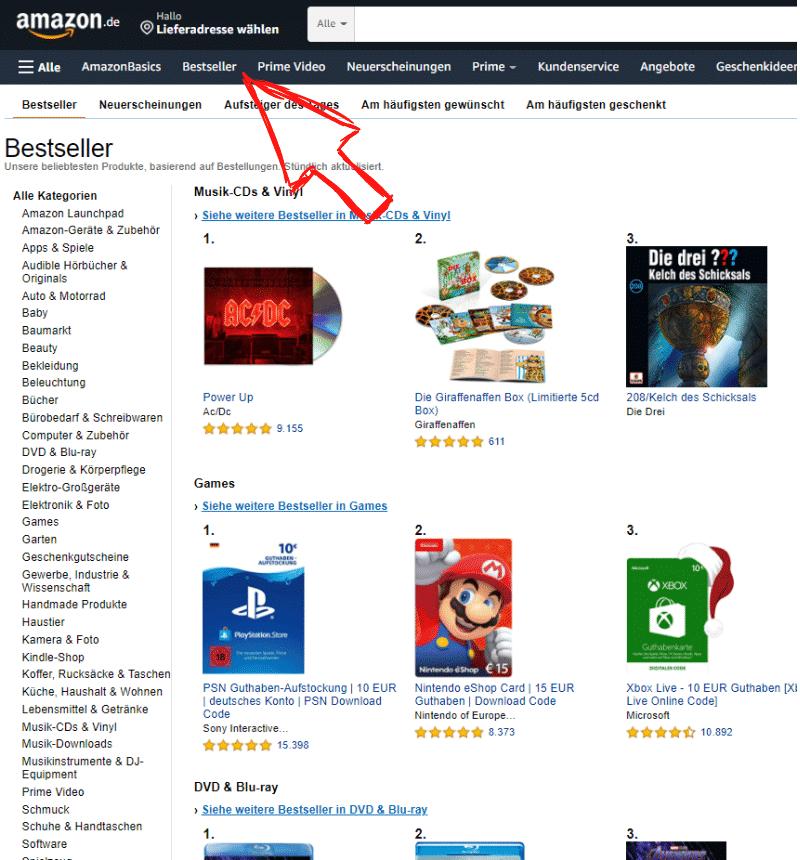 Amazon Partnerprogramm - Bestseller finden