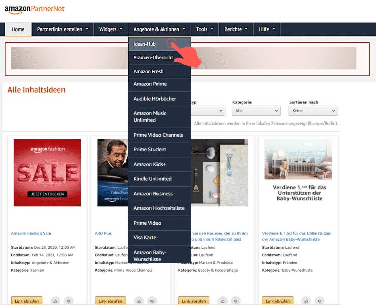 Amazon Partnerprogramm - Ideen Hub Menue