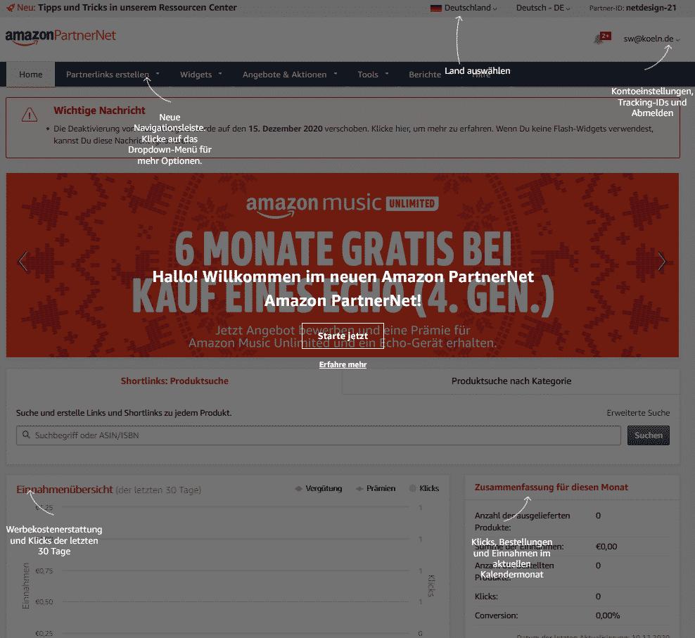 Amazon Partnerprogramm Konto Registrieren Startseite