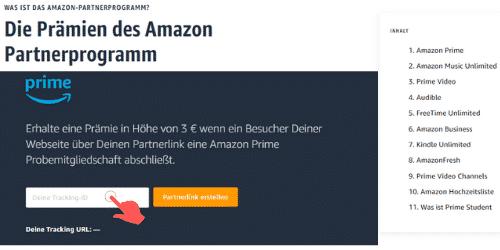 Amazon Partnerprogramm - Ressourcen Center Inhalt