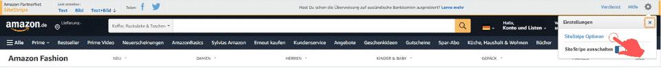 Amazon Partnerprogramm - SiteStripe Einstellungen SiteStripe Optionen