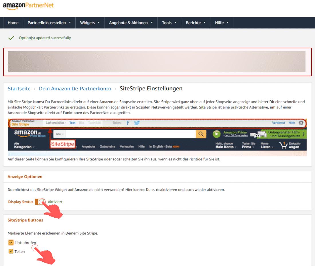 Amazon Partnerprogramm - SiteStripe Einstellungen