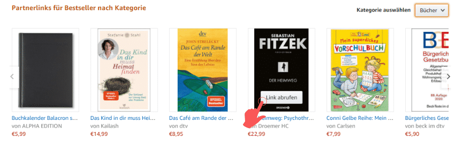 Amazon Partnerprogramm - SiteStripe Partnerlinks Bestseller Kategorie Link abrufen
