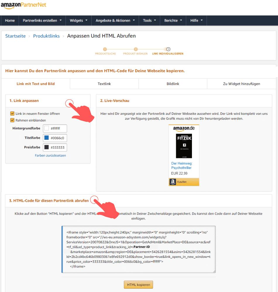 Amazon Partnerprogramm - SiteStripe Partnerlinks Bestseller Kategorie Link anpassen