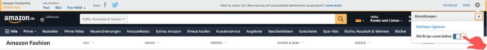 Amazon Partnerprogramm - SiteStripe aktivieren