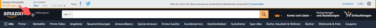 Amazon Partnerprogramm - SitesTripe mit Anmeldung