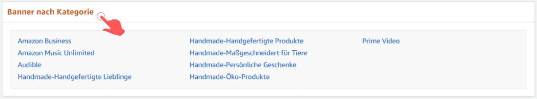Amazon Partnerprogramm - Werbemittel - Banner - Kategorie