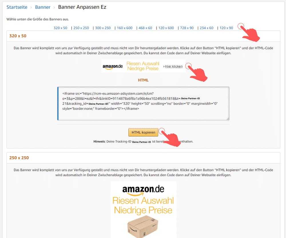 Amazon Partnerprogramm - Werbemittel - Banner - Promolinks Auswahl