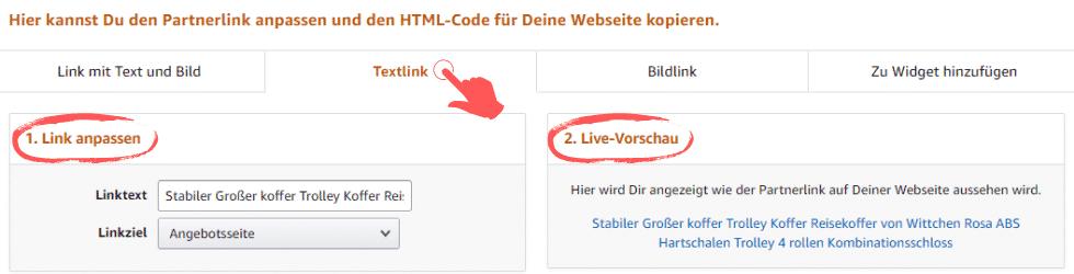 Amazon Partnerprogramm - Werbemittel - Produktlinks - Anpassen Text