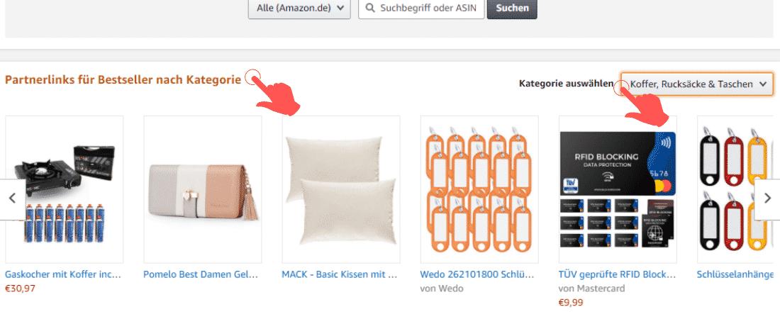 Amazon Partnerprogramm - Werbemittel - Produktlinks - Bestseller Kategorie