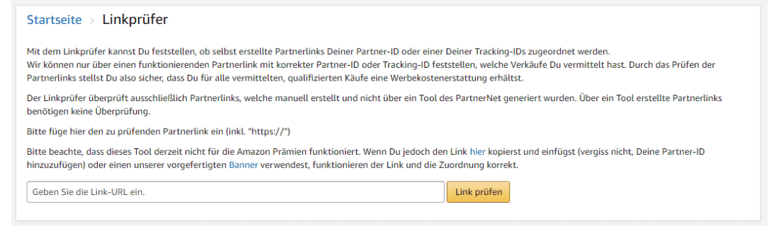 Amazon Partnerprogramm - Werbemittel - Produktlinks - Linkpruefer URL