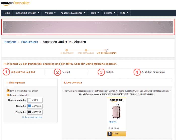 Amazon Partnerprogramm - Werbemittel - Produktlinks - Produktsuche Link anpassen HTML Code