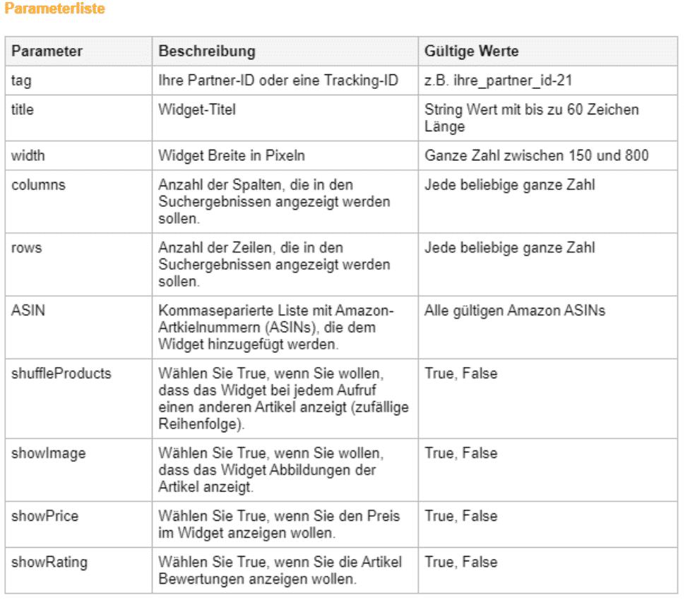Amazon Partnerprogramm - Werbemittel - Widgets - Favoriten Source Parameterliste