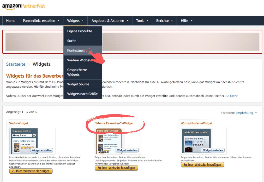 Amazon Partnerprogramm - Werbemittel - Widgets - Meine Favoriten