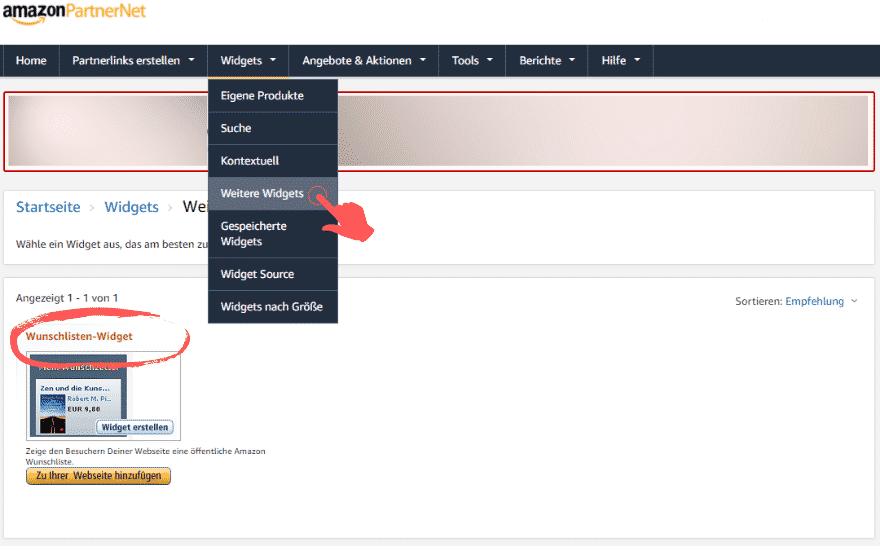 Amazon Partnerprogramm - Werbemittel - Widgets - Wunschliste