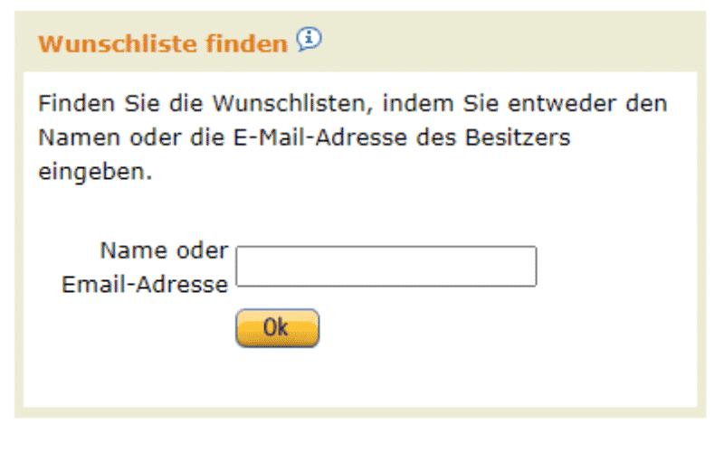 Amazon Partnerprogramm - Werbemittel - Widgets - Wunschzettel Finden E-Mail