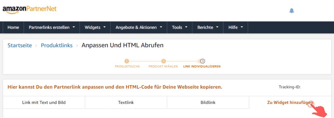 Amazon Partnerprogramm - Werbemittel - Widgets - zu Widget hinzufuegen