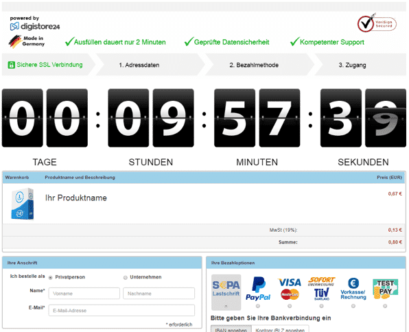 Countdown bei Digistore24