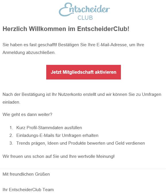 Entscheiderclub - Willkommen E-Mail