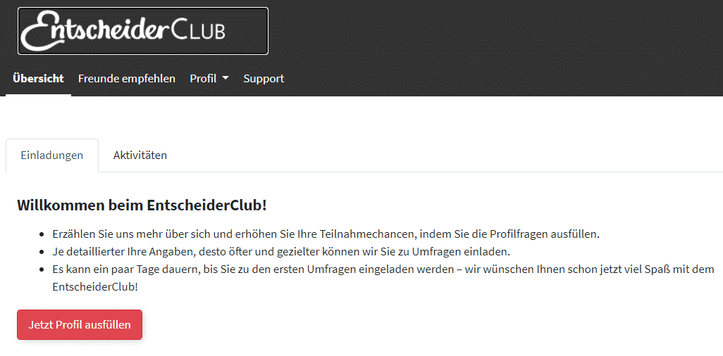 Entscheiderclub - Profil ausfüllen