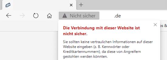 Google Ranking verbessern - SSL Nicht Sicher Microsoft Edge