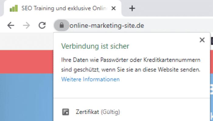 Google Ranking verbessern - SSL Sicher Chrome