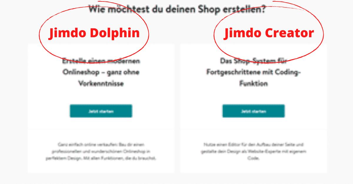 Jimdo Shop Dolphin oder Creator
