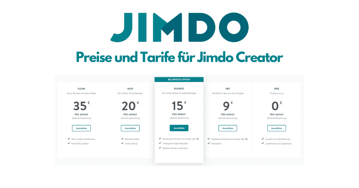 Jimdo Creator Preise
