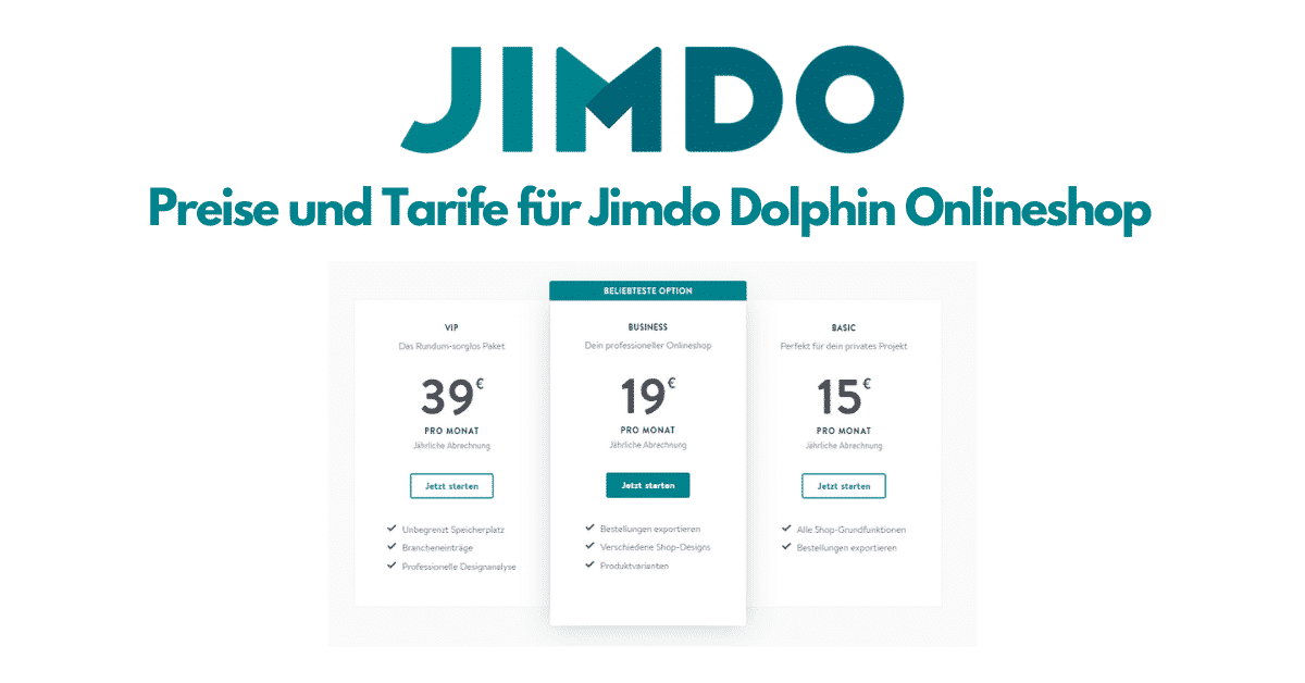 Jimdo Dophin Onlineshop Preise