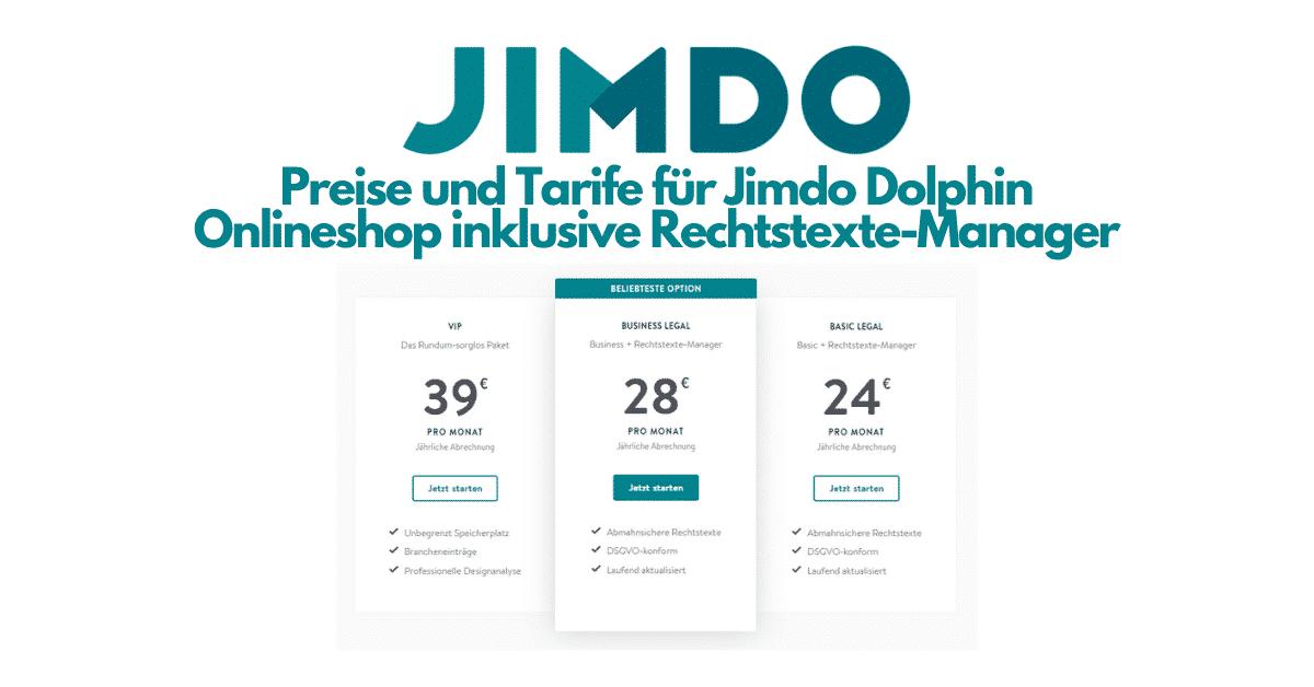 Jimdo Dophin Onlineshop Rechtstexte Preise