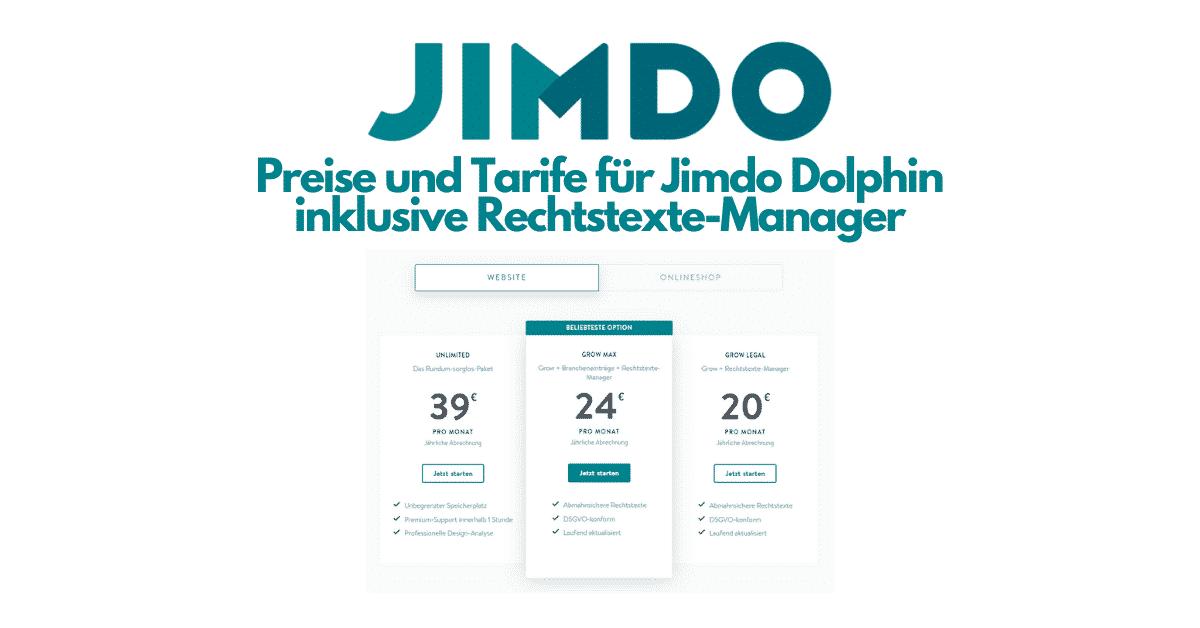 Jimdo Dophin Website Rechtstexte Preise
