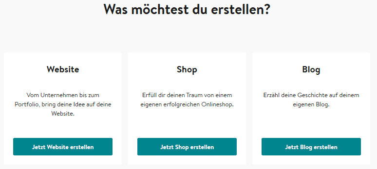 Jimdo Website Auswahl