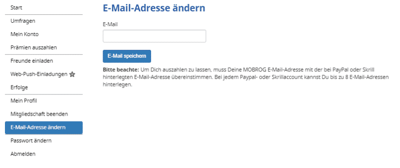 Mobrog - Account E-Mail ändern