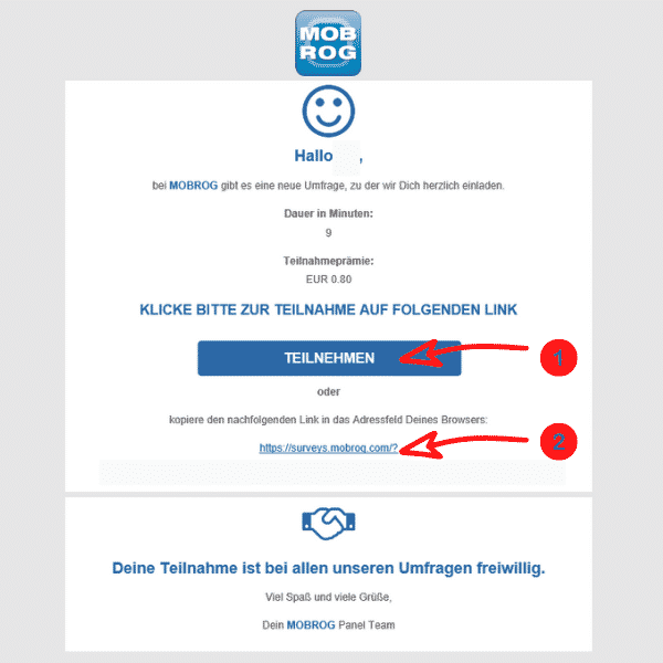Mobrog - Einladung Umfrage Link