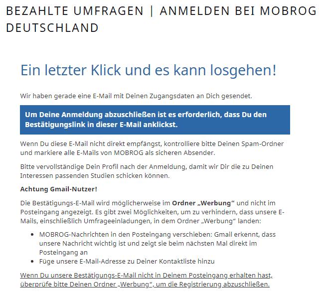 Mobrog - Registrieren Bestätigungs E-Mail