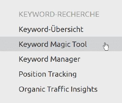 SEMrush - keywordgerichtete Analyse