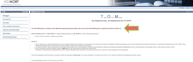 VG WORT TOM Registrierung