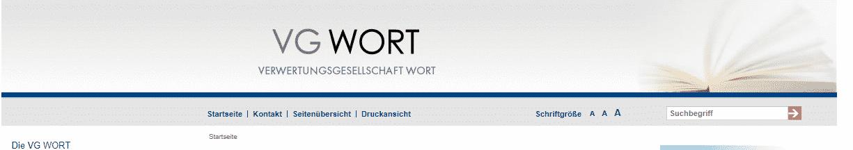 VG WORT Homepage