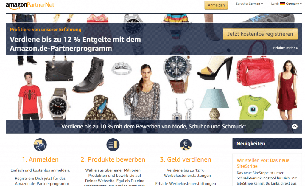 Affiliateprogramm Amazon Partnernet
